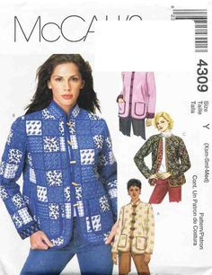 McCall's Sewing Pattern 4309 Misses/Miss Petite Lined Jackets Size Y XS-M Used