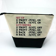 Kitchener rule and Poppy Embroidered Project Bag by TheKnittersAttic on Etsy