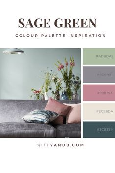 Sage Green and Pink Colour Palette Inspiration Living Room Kitty and B decor color schemes Sage Green and Pink Colour Palette Inspiration Sage Green Bedroom, Sage Green Walls, Green Rooms, Green Living Rooms, Blue And Pink Living Room, Color Schemes Colour Palettes, Green Color Schemes, Living Room Color Schemes, Sage Color Palette
