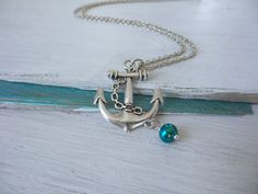 Anchor Pearl Necklace by SBC Antique by sandybeachcollection