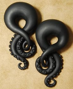 Matte Black Tentacles - Earrings for Stretched Lobes - 4g to 00g - Gauges on Etsy, $32.00