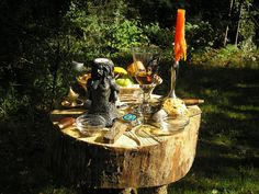 Mabon Altar. I love the use of natural wood as the table.