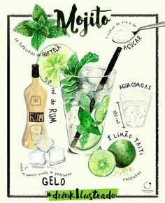 Schi martins # Food and Drink art paintings Cocktail Drinks, Alcoholic Drinks, Cocktails, Recipe Drawing, Cocktail Illustration, Food Sketch, Watercolor Food, Food Painting, Food Journal