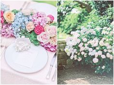 With soft pinks and cerise, sky blue, buttery yellow and bright green, it's the not the kind of palette you'd expect for a romantic finish. But by using classic English garden blooms, like hydrangea, roses, carnations and peonies, the results are instantly whimsical and charming.