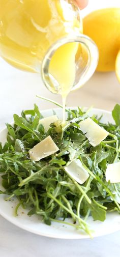 A refreshing arugula salad tossed with a subtle and sweet lemon vinaigrette - a 30 second homemade salad dressing you'll make time and time again. Lemon Recipes, Healthy Recipes, Slaw Recipes, Avocado Recipes, Healthy Foods, Lemon Vinaigrette Dressing, Arugula Salad Recipes, Summer Salads, Soup And Salad