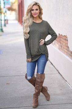 Believe It Or Knot Top - Olive