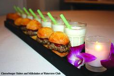 Cheeseburger sliders & milkshakes...perfect comfort foods during your wedding reception!
