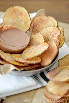 Cinnamon Sugar Churro Chips with Mexican Chocolate Cream.  #GoAutentico