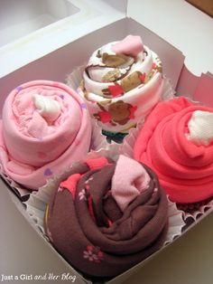 tutorial on how to wrap up the onesie/sock cupcake- including where to get the box!