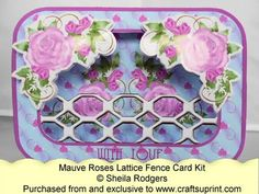 Lattice Fence Card - Mauve Roses