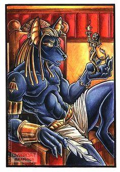 Anubis with Sekhmet  by Stephanie Stone