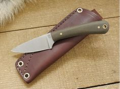 LT Wright Knives: Frontier Valley (Flat Grind) Fixed Blade Camping Knife w/ Green Canvas Micarta Handle, Matte Finish - TheKnifeConnection