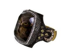 Owl Carved Smoky Topaz Ring - by Sevan Bicakci  online at Twist! Very Cool-love the owl