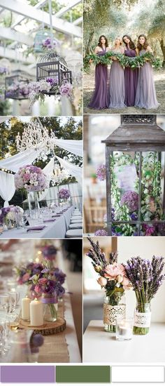 Romantic lavender and green beach wedding decoration ides and color inspiration! Those lavender bridesmaid's dresses and tall centerpieces.