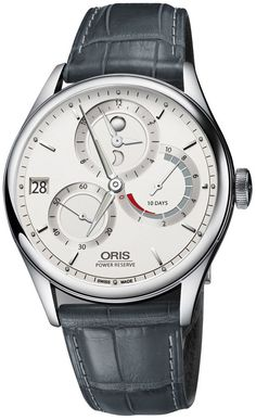 Oris Artelier - 43mm stainless steel case.  Swiss mechanical movement.  Sapphire cyrstal, date, power reserve  #wristwatch #watches #jewelry   Click here to read our Oris watches review: http://designerwatchesonline.net/oris-watches-review-mechanical-craftsmanship-at-its-best/