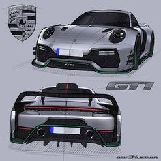 Porsche 911 concept by emrEHusmen® Car Design Sketch, Car Sketch, Porsche 911 Gt, Cool Car Drawings, Bmw M4, Futuristic Cars, Audi Cars, Porsche Design, Top Cars