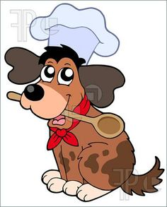 Illustration of Cartoon dog chef with spoon - stepping stool