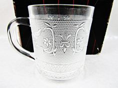 Set of 4 Mugs Renaissance Studio Silversmiths Clear Embossed Glass Coffee Cups  #StudioSilversmiths