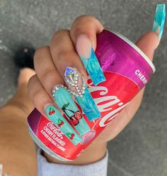 Bling Acrylic Nails, Best Acrylic Nails, Bling Nails, Swag Nails, Gel Nails, Burberry Nails, Gucci Nails, Dope Nail Designs, Art Designs