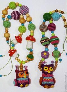 """Купить Слингобусы """"Филин Бубочка"""" - слингобусы, слингобусы с совой, сова, совушка, филин, бусы с игрушкой"""
