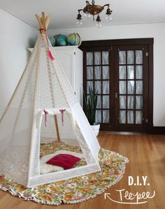Make Your Own Play Teepee-OMG, yay!!! I always say I will have a teepee in my little boy's room ,if I have a boy. Now here are directions!!! Suddenly, I'm ready for a baby boy now! LOL!