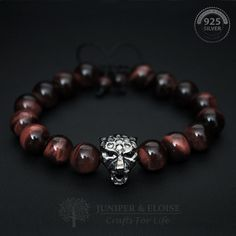 Valentines Day Gift for Him, Valentines Day Sale Panther Charm Bracelet, Tigers Eye Bracelet This handmade bracelet features 10mm Tigers Eye Beads and Rhodium plated 925 Silver Black Panther charm with black Zircon eyes . Its adjustable, utilizing a sliding knot made with macrame