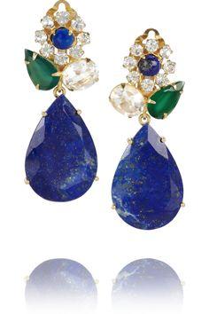 Bounkit Gold-plated onyx, quartz and lapis lazuli clip earrings NET-A-PORTER.COM