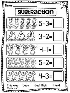 Grade Math Unit 5 Subtraction Subtraction differentiated worksheets and activities galore! Subtraction within 10 picture worksheetsSubtraction differentiated worksheets and activities galore! Subtraction within 10 picture worksheets Subtraction Kindergarten, Subtraction Worksheets, Preschool Math, Kindergarten Worksheets, Teaching Math, In Kindergarten, Math Activities, 1st Grade Math, First Grade