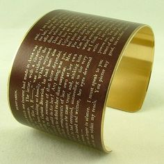 Persuasion Literary Quote Brass Cuff Bracelet- Captain Wentworth's Letter from Jane Austen's Persuasion.  I NEED THIS!!!