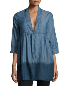 Fade to Blue Three-Quarter Dip-Dye Chambray Blouse, IHD New offer @@@ Price :$118 Price Sale $62