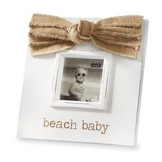 Mud Pie Beach Baby Wood Photo Frame Burlap Bow 3' x 3' *** Visit the image link more details. (This is an affiliate link and I receive a commission for the sales)