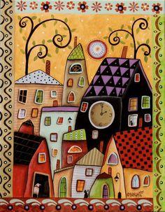 Bright Afternoon ORIGINAL 11x14 inch CANVAS PAINTING Folk Art CITY Karla G #AbstractFolkArt