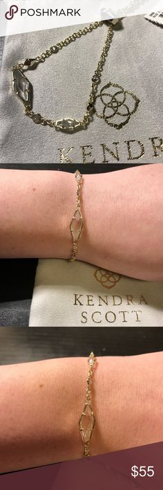 NWT Kendra Scott Deb Bracelet NWT new with tags Kendra Scott Deb Bracelet. This bracelet has a gold base with beautiful iridescent stones and an adjustable clasp. It is a very subtle iridescence and layers in a delicate and gorgeous ways with other bracelets. The first 6 photos are of the Deb bracelet alone, the last 2 are of other bracelets in my closet layered with the bracelet. Bundle with others to get a lower price! Kendra Scott Jewelry Bracelets