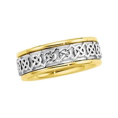 14K Gold Two Tone Men's Wedding Band.    http://www.thediamondstore.com/products/men's-wedding-rings/14k-gold-two-tone-mens-wedding-band-%7C-50391/7-604