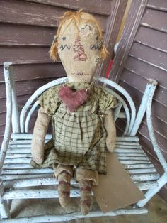 VERY Primitive, extreme primitive, old rag doll, cloth doll, Raggedy Ann, Heart, TeamHaHa, Hafair, early american, prairie, colonial doll by by mustardseed on Etsy