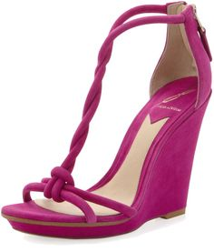 Women's Pricilla Wedge Sandal, Fuchsia - B Brian Atwood from Neiman Marcus on Catalog Spree, my personal digital mall. T Strap Sandals, Wedge Sandals, Wedge Shoes, Heeled Sandals, Shoes Sandals, Brian Atwood, Cute Shoes, Me Too Shoes, Green Shoes