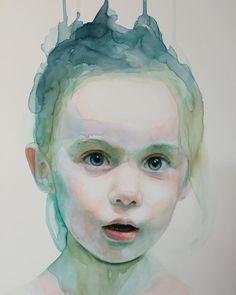 """detail of ""Speak my words""  #watercolor #painting #child #immerse #spirit #alicavanaugh"""