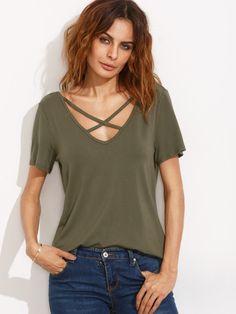 T-Shirt Kurzarm mit V- Ausschnitt am Rücken - armee grün