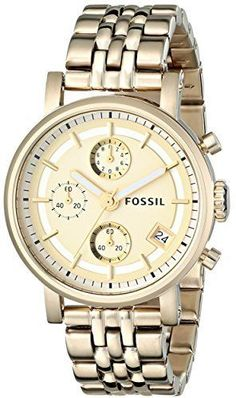 b56f774ffbb Fossil Gold Dial Stainless Steel Chronograph Quartz Womens Watch ES2197   Fossil  Casual Relógios Masculinos