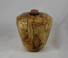 """""""Bao Shi"""" (Jewel) spalted Weeping White Birch with red alabaster inlayed in Gaboon Ebony  H - 6"""" x W - 5.25  Nathan Hemperly artist @ marnasi.com"""