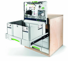 Festool has long been offering a large range of storage systems: SYS-Port, Workcenter, Universal centre, various Sortainers and more, however