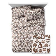 Forest Friends Sheet Set - Full - 4 pc - Brown - Pillowfort, Brown White