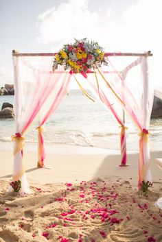 Romantic Beach Wedding Arch on Virgin Gorda