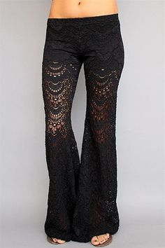 Nightcap - Black Spanish Fan Lace Pant (We also have Deep Teal, Peach, and Seafoam)