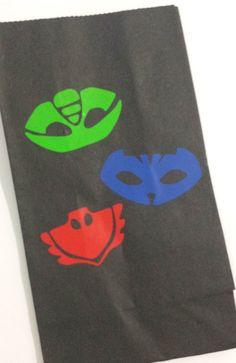 PJ Masks Black Vinyl Embellished Paper Party by BayBaysBoutique