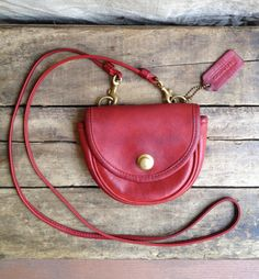 vintage c. 1990s Coach red leather mini belt bag / crossbody purse by MouseTrapVintage, $112.00