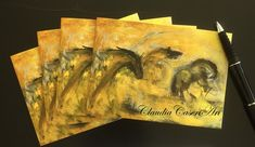 "Note card set from my original mixed media painting ""The Stampede""  * Package of four 4.13 x 5.82 in (10.5 x 14.8 cm) folded blank note cards * Printed on premium 250 g white card stock * Includes matching white envelopes  * Packaged in a protective, clear, resealable sleeve."