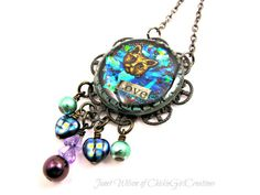Love - Inspirational Cat Holographic Necklace by Janet Wilson of ChickieGirlCreations
