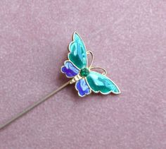 Vintage Butterfly Rhinestone Hat Stick Pin by BlueberrySkyVintage, $14.00