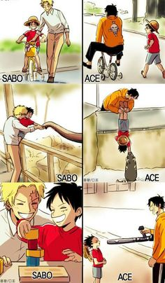 Wow, two brothers two different ways to get directed in life for luffy.   .....we can all see he took after them both
